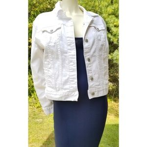 Old Navy White Denim Jeans Jacket,  Large.